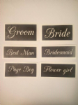 Wedding words - Bride Best Man Groom Bridesmaid  word stencils mix for etching on glass